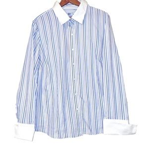 Izod No Iron Stripe Button Down Top